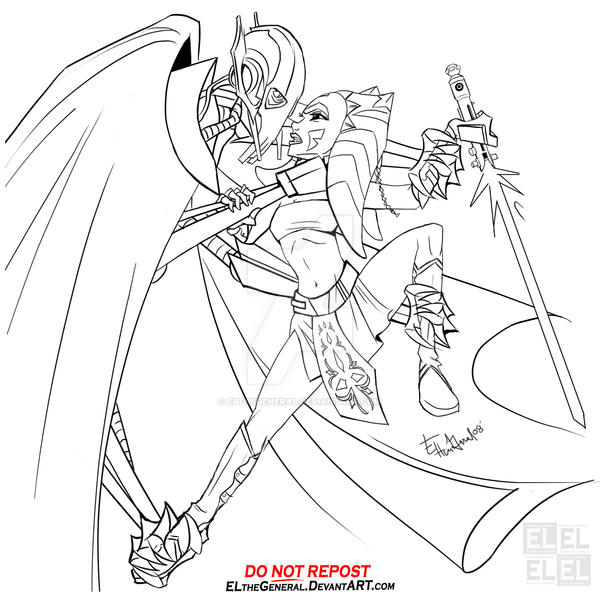 Grievous chokes ahsoka by elthegeneral on deviantart for General grievous coloring page