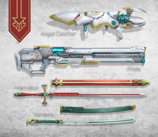 Commission: Rynn Weapons Set. by aiyeahhs
