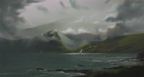 Plein Air:  Low clouds over the Inlet