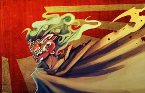 Seminar Doodles - The Green Flamed Oni by ben-ben