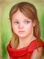 Little girl in red dress pastel by toxicdesire