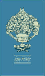 Steampunk birthday greeting card by Soingu