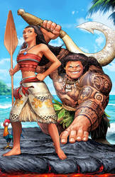 Moana Maui and Heihei