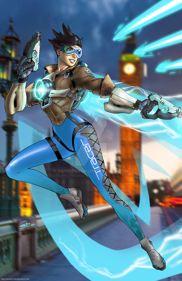 Tracer Overwatch Blue by SaviorsSon