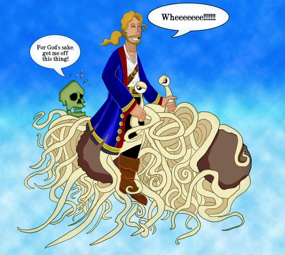 Guybrush riding the FSM by Xanadu7
