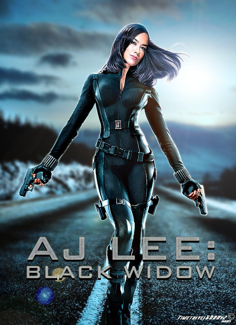 wwe aj lee black widow poster by timetravel6000v2 on