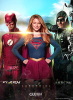 The Flash Supergirl Arrow CW Poster by Timetravel6000v2