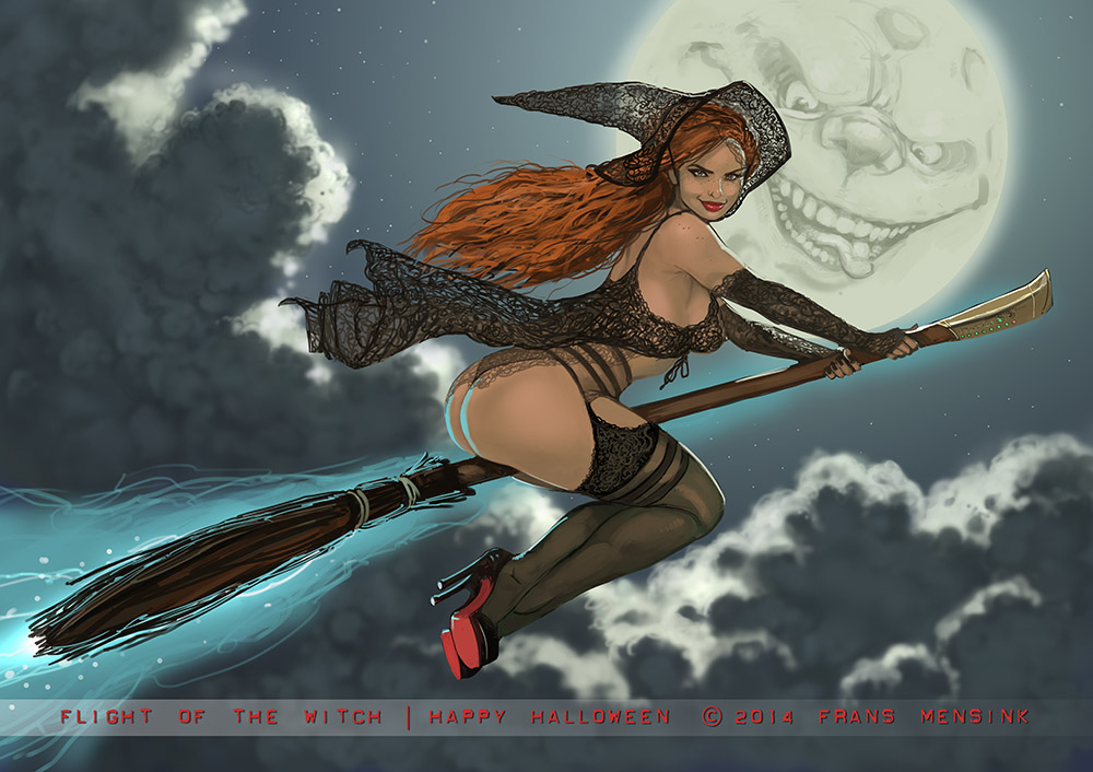 Flight of the witch by FransMensinkArtist