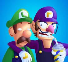 Waluigi and Luigi are the Best of Friends by SirMadameTheKnight
