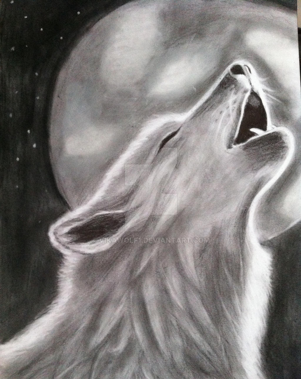 drawing of a wolf howling on the moon by vikawolf1