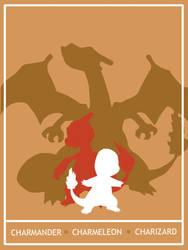 Pokemon Charmander - Charizard Minimalist Poster