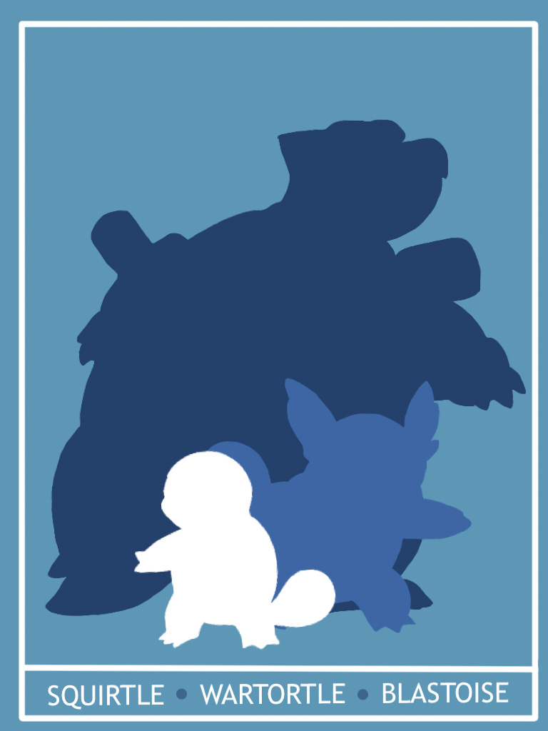 Pokemon Squritle - Blastoise Minimalist Poster by Mr-Saxon
