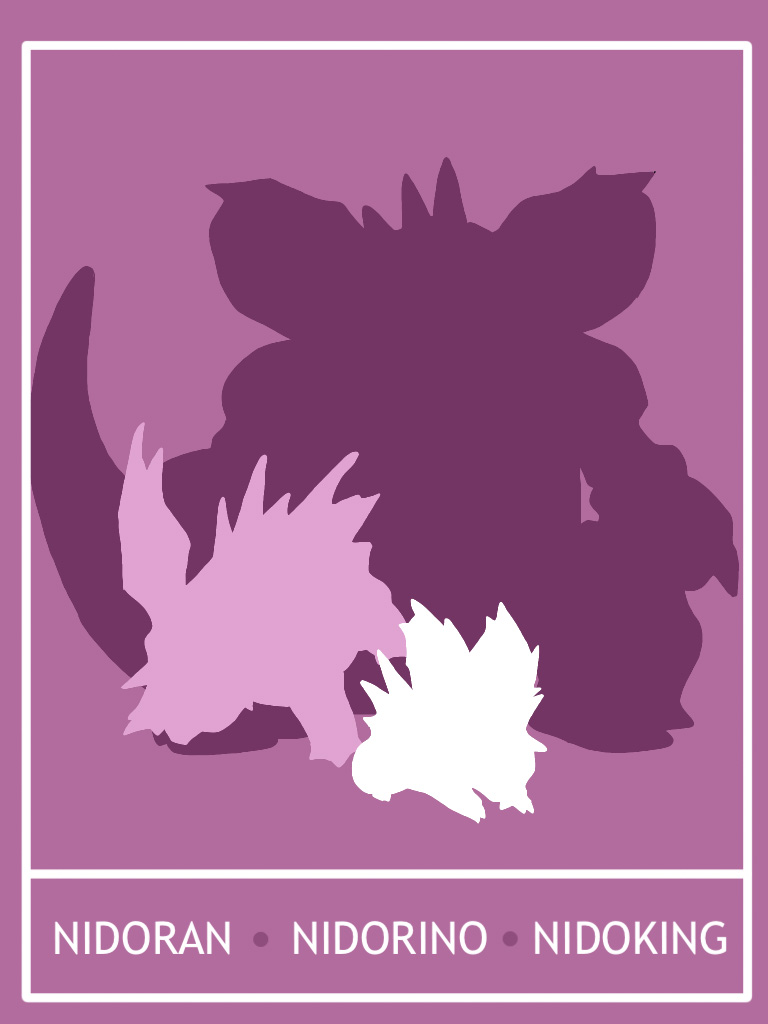 Pokemon Nidoran - Nidoking Minimalist Poster by Mr-Saxon