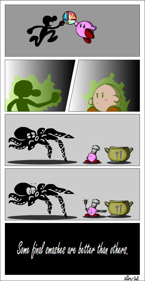 Mr. Game and Watch vs. Kirby by alien-cat