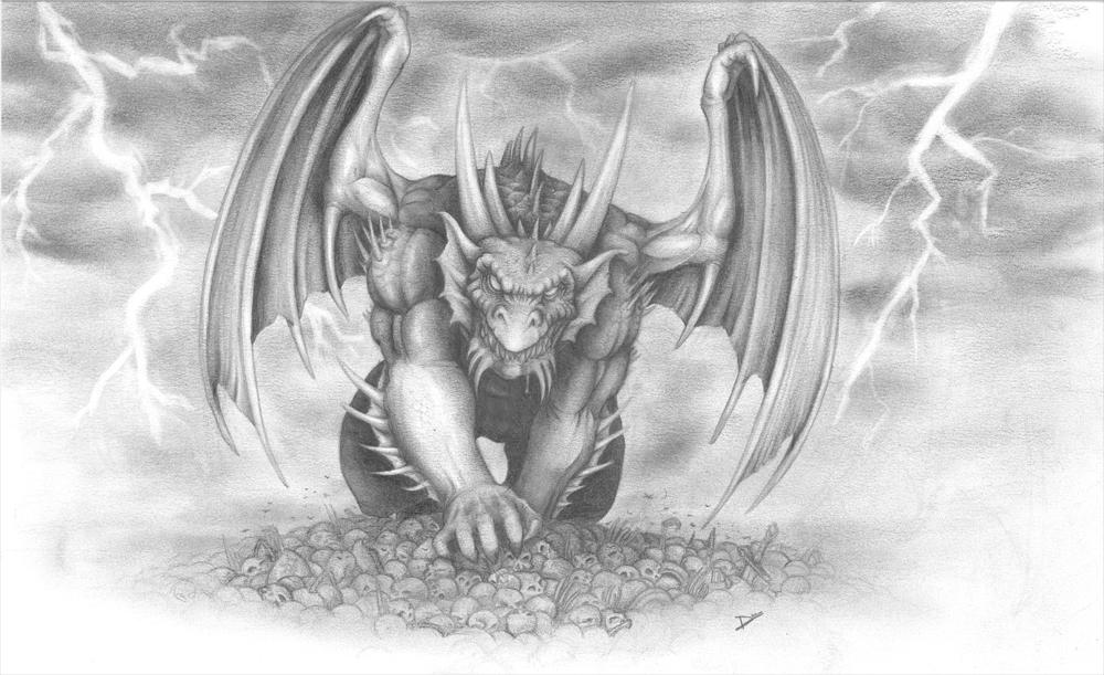 Dragon in the storm by redking74