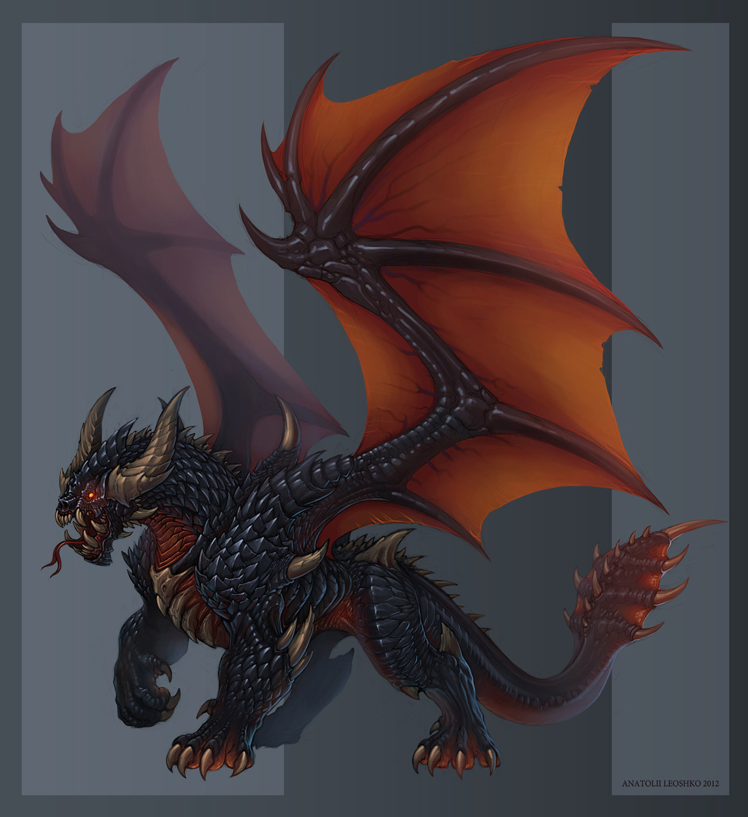 Black Eastern dragon by KhezuG