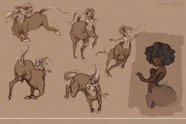 Centaur Sketches2 by jbsdesigns