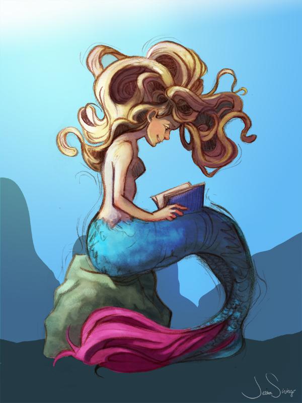 Mermaid with Book by jbsdesigns