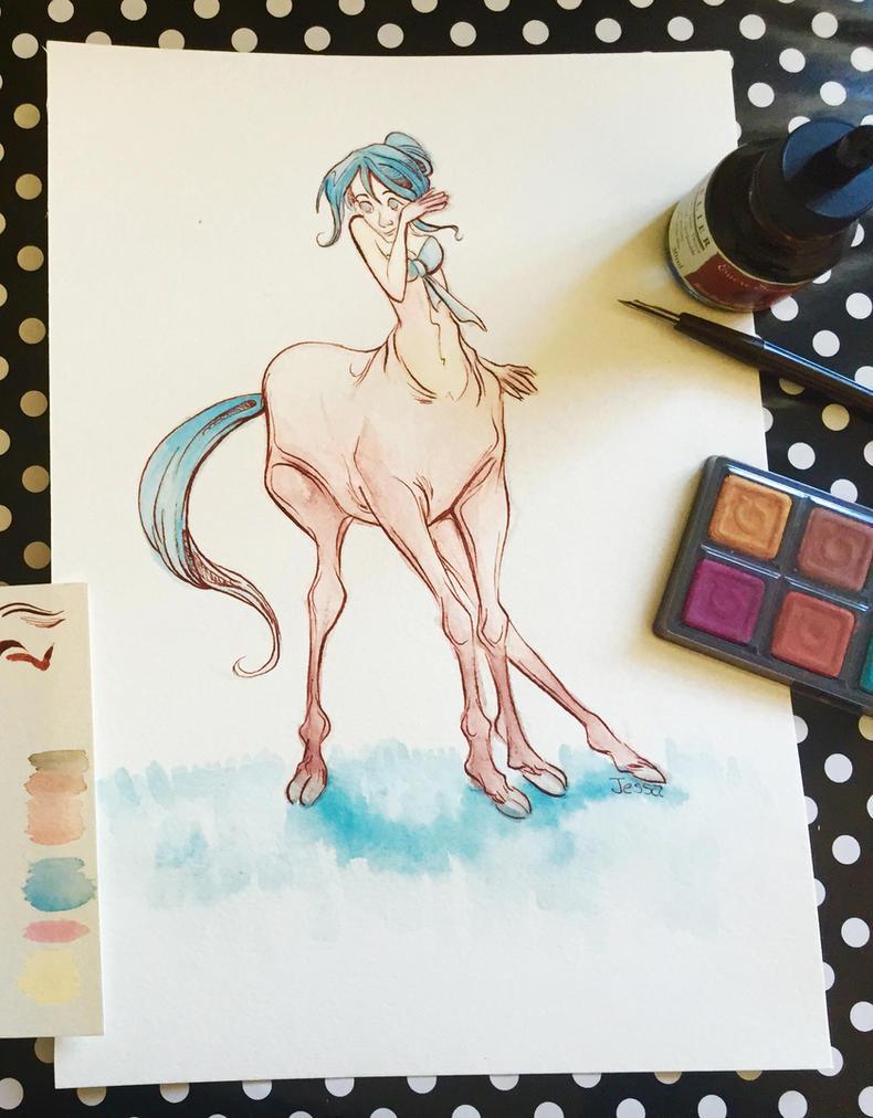 Centaur Watercolor Illustration Video by jbsdesigns