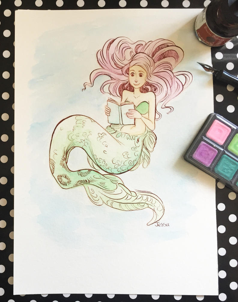 Mermaid #3 Watercolor Illustration Video by jbsdesigns