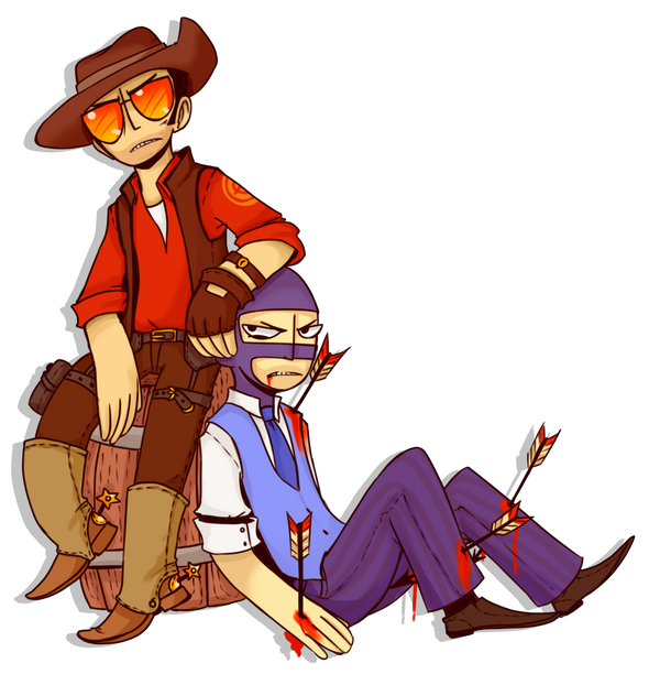 FANART: TF2 sniper and spy by JackASmile