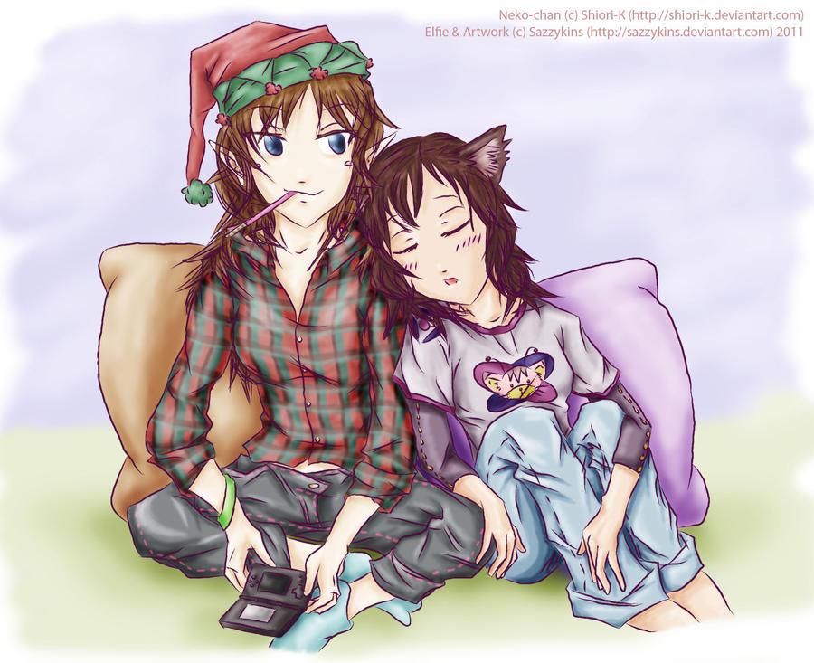 +Elfie and Neko+ for Shiori by sazzykins