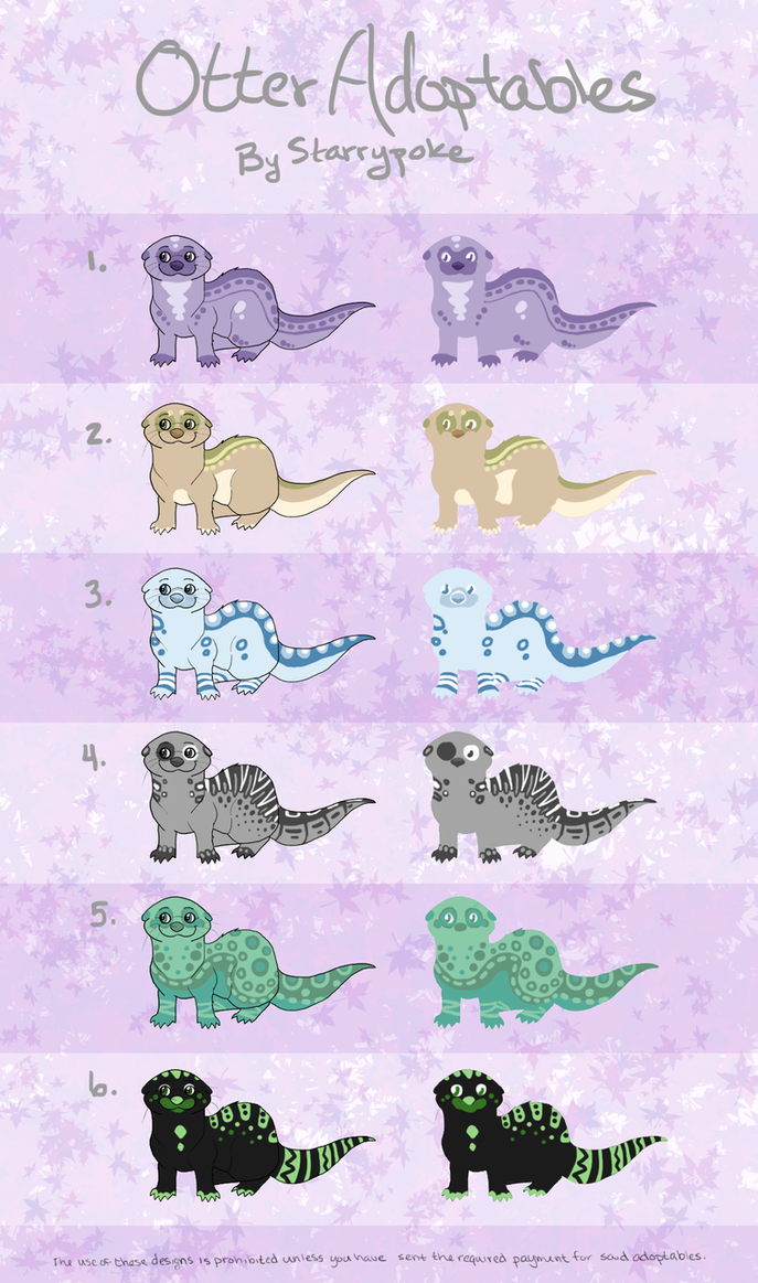 Otter Adoptables- now for points! by Starrypoke