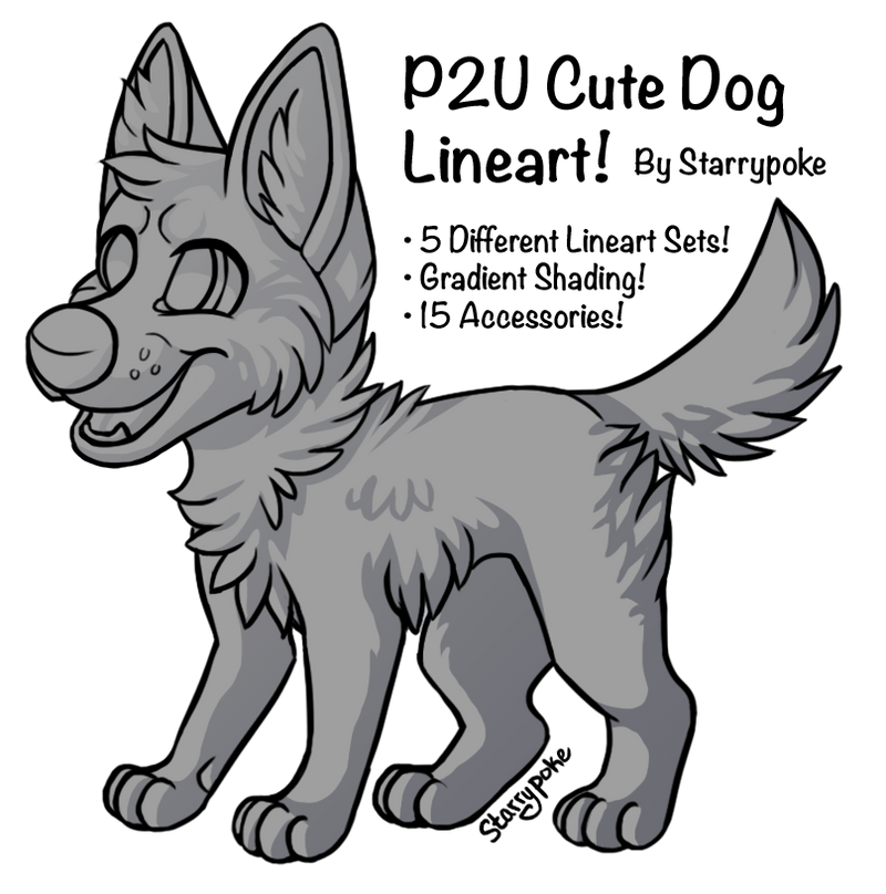P2U Cute Doggy Lineart Set + Accessories! by Starrypoke