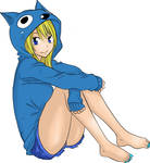 Fairy Tail   Lucy Heartilia Happy Outfit Lineart
