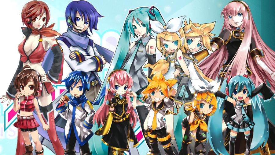Vocaloid Chibi Group Wallpaper VOCALOID wallpaper thi...