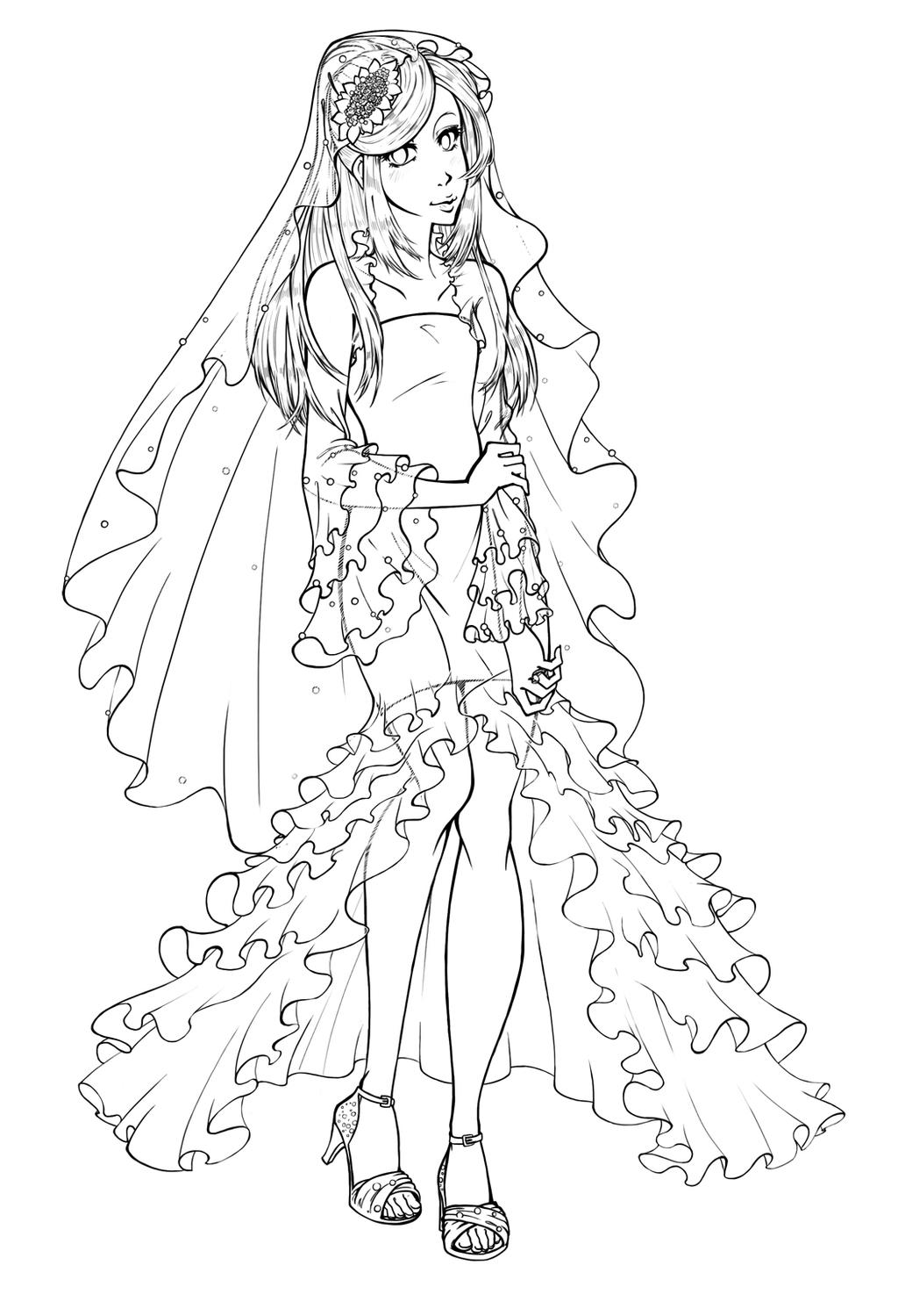 Wedding Dress Line Drawing : Wedding dress lineart by miha hime on deviantart