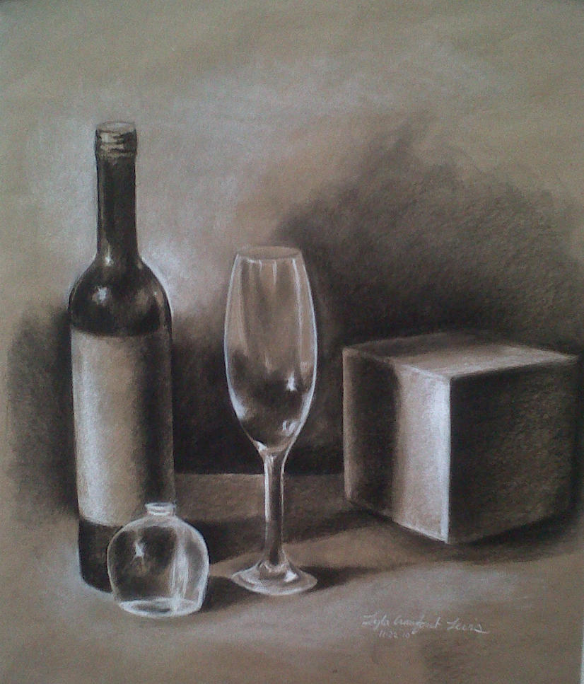 Still Life - Wine bottle by lylaclayre on DeviantArt