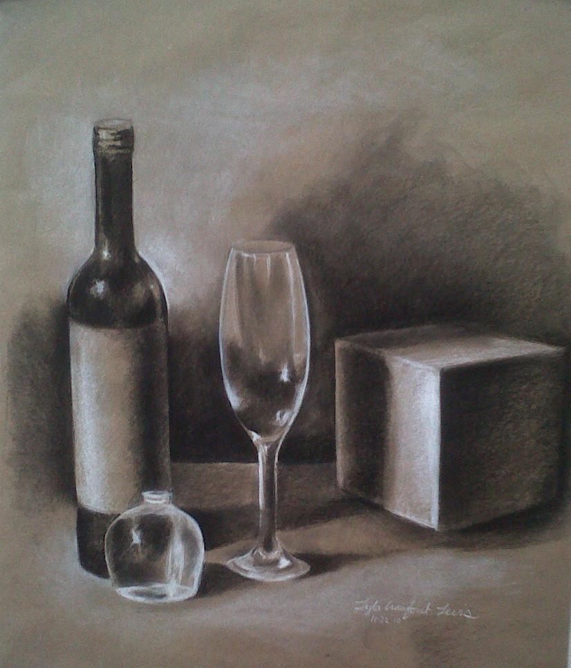 Still Life - Wine bottle by lylaclayre on DeviantArt