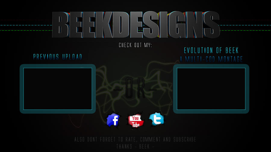 youtube outro template by beekdzn on deviantart. Black Bedroom Furniture Sets. Home Design Ideas