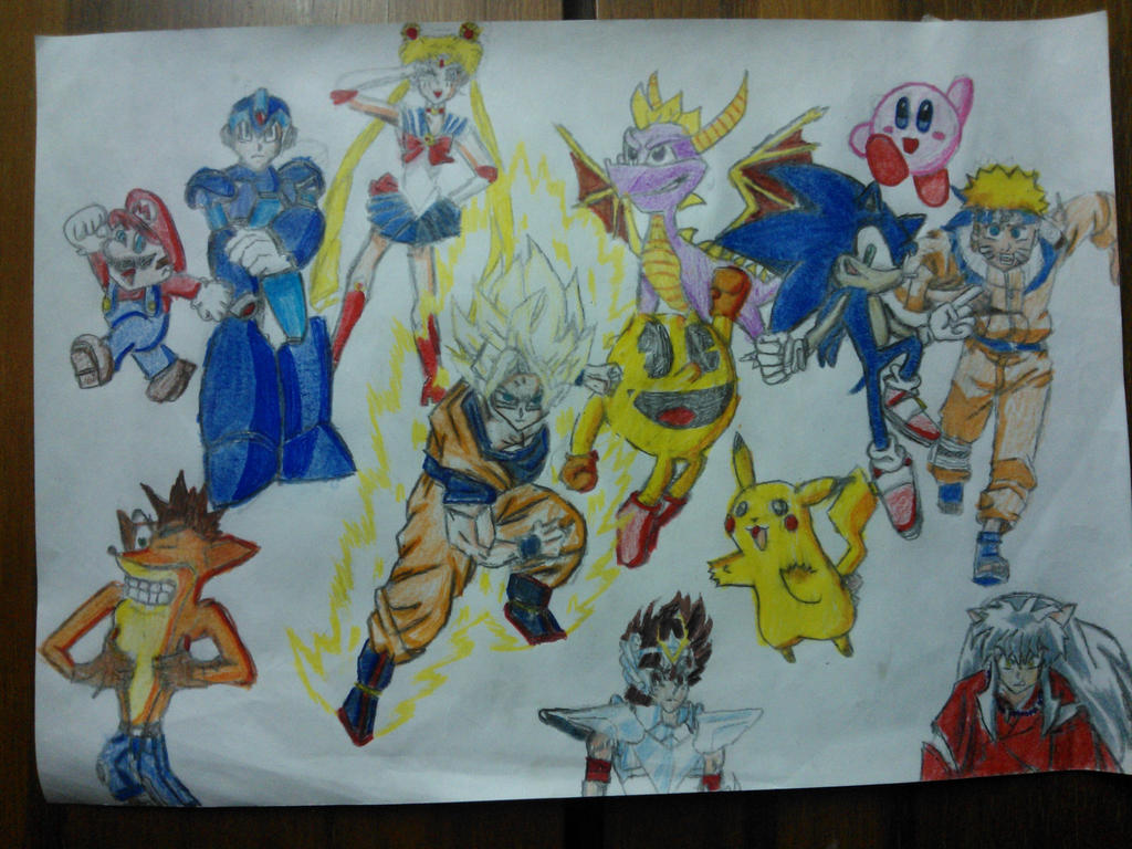 Goku Sonic Mario Megaman Naruto y amigos by Nelsoncaricatoon