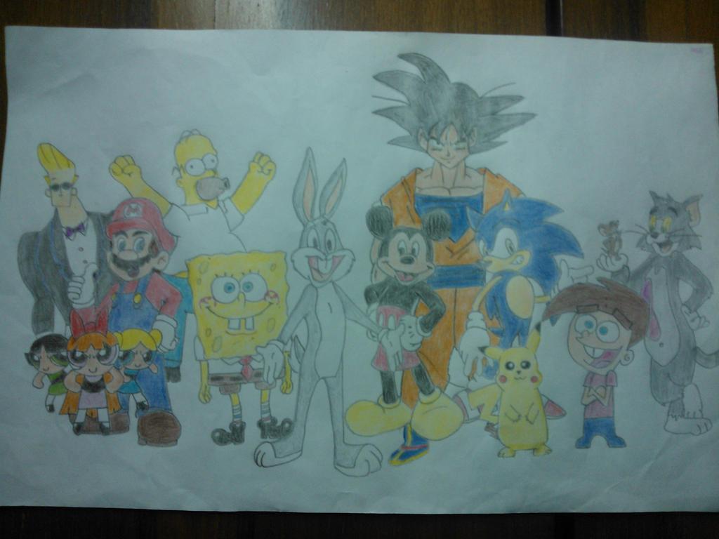 Bugs Bunny Goku Sonic Bob Esponja y amigos by Nelsoncaricatoon