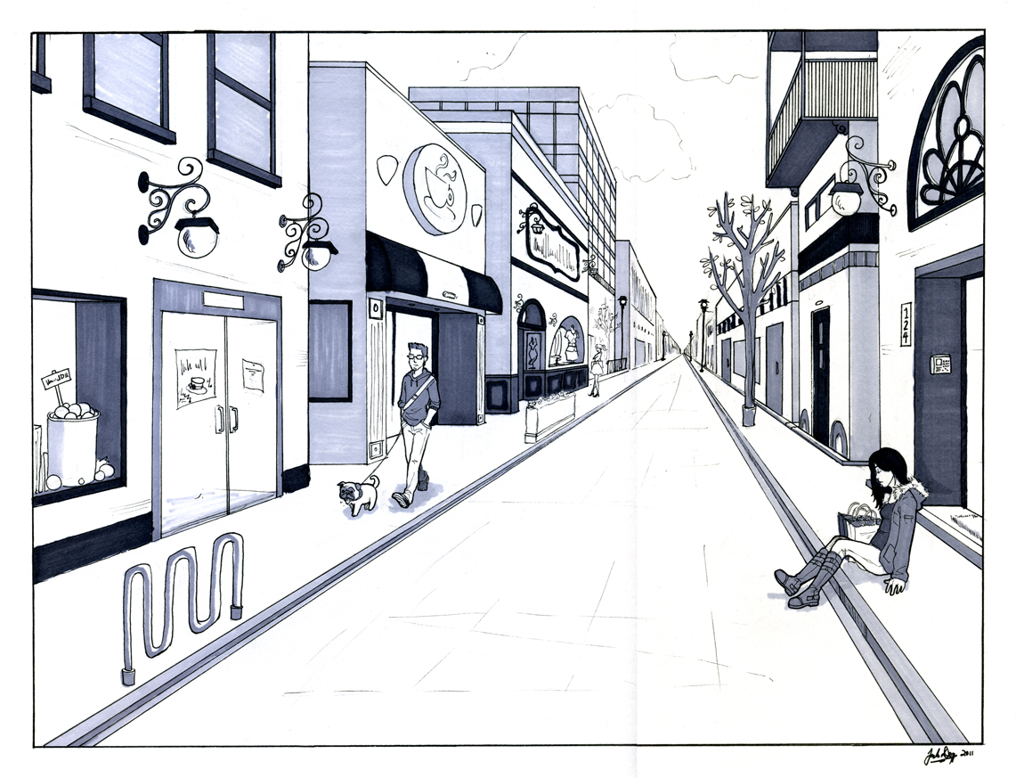 1 Point Perspective Drawing Street | www.imgkid.com - The ...