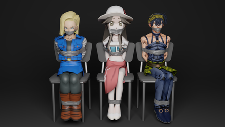 Android 18, Leaf, and Narancia Tied Up by TheBlenderTaper