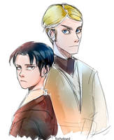 Levi and Erwin crossover sketch by Forheksed
