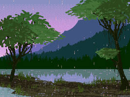 Rainy evening at the river by Forheksed