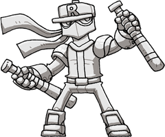 Twinbats Ryno Greyscale (Ninja Baseball Bat Man)