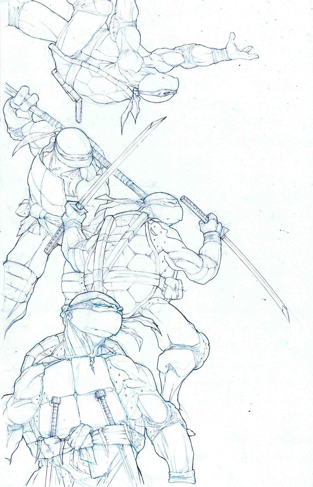 TMNT final pencils by victoroil
