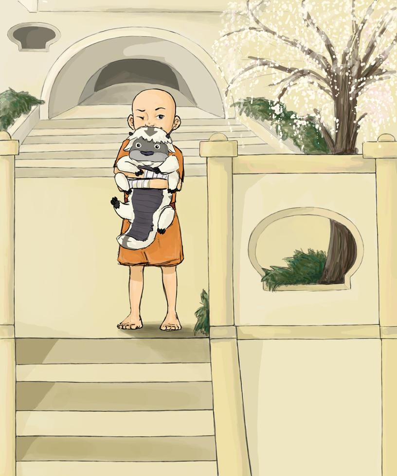Aang meets Appa by KimchiCrusader