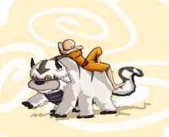 Aang and Appa by KimchiCrusader
