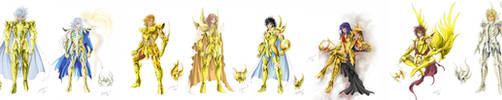 Frieze of gold saints by SpaceWeaver