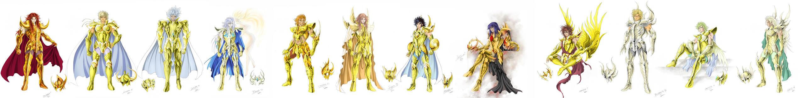 Frieze of gold saints by SpaceWeaver