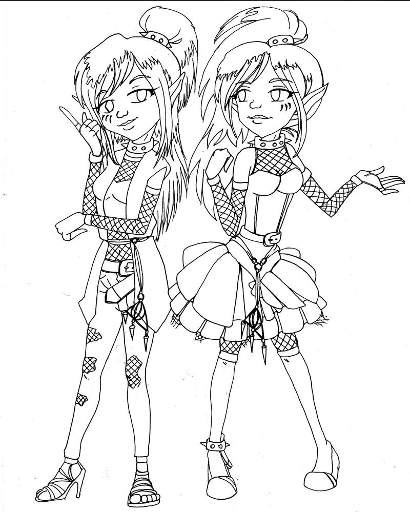 twin idea by - Monster High Chibi Coloring Pages