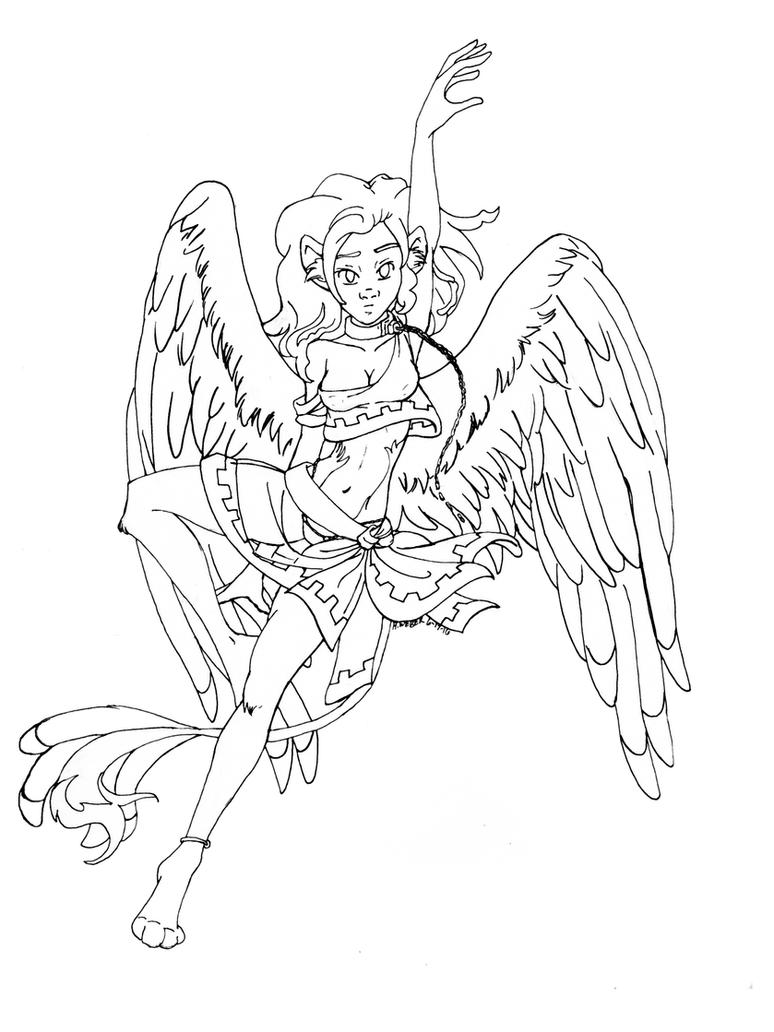 Sphinxgirl- line art by GlyphBellchime