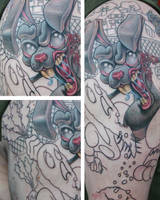 In Progress: Zombie Rabbit Half Sleeve by Nelby2388