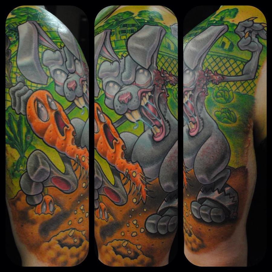 Zombie Rabbit Tattoo by Nelby2388